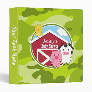 Farm Animals bright green camo camouflage Vinyl Binders