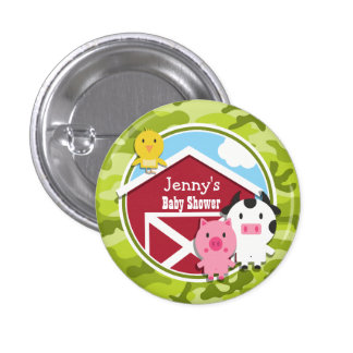 Farm Animals bright green camo camouflage Pinback Button