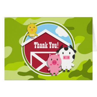 Farm Animals bright green camo camouflage Cards