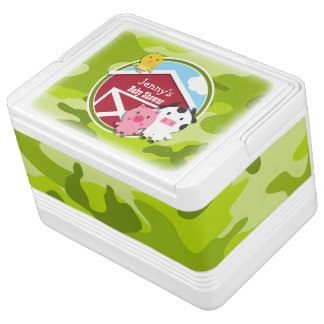 Farm Animals bright green camo camouflage Igloo Can Cooler