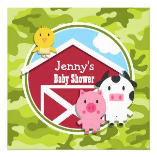 Farm Animals bright green camo camouflage Personalized Announcements
