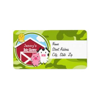Farm Animals bright green camo camouflage Address Label