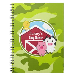 Farm Animals bright green camo camouflage Spiral Note Book
