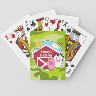 Farm Animals bright green camo camouflage Deck Of Cards