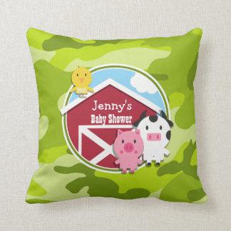 Farm Animals bright green camo camouflage Throw Pillows