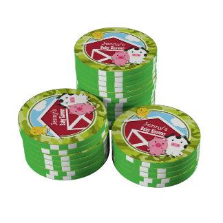 Farm Animals bright green camo camouflage Poker Chip Set