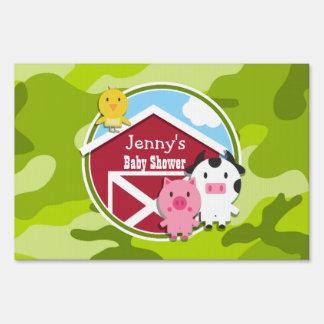 Farm Animals bright green camo camouflage Signs