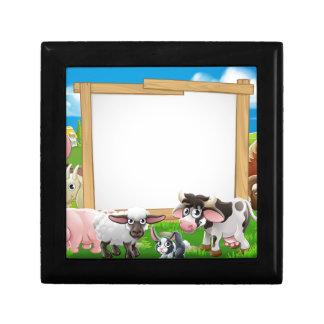 Farm Animals Cartoon Sign Keepsake Boxes
