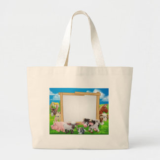 Farm Animals Cartoon Sign Large Tote Bag