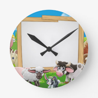 Farm Animals Cartoon Sign Wall Clocks