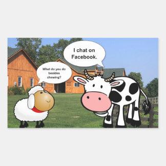 Farm animals cute cartoon funny facebook chat rectangular sticker
