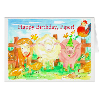 Farm Animals Happy Birthday Card