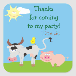 Farm Animals Personalized Thank You Stickers