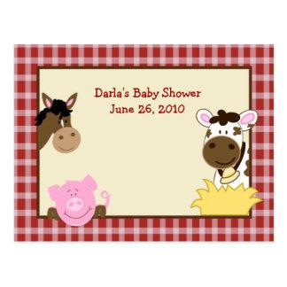Farm Babies Baby Shower Advice Cards Postcard