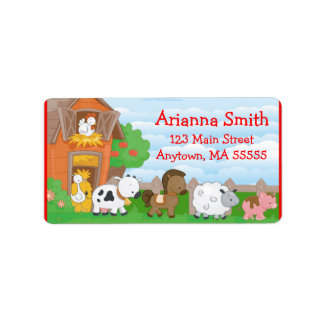 Farm Barn Animals Birthday Party Address Labels