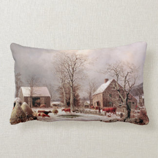 Farm Barn Animals Winter Snow Country Throw Pillow