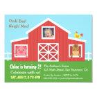 Farm Barnyard Animal Photo Birthday Party Card