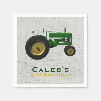 Farm Barnyard Tractor Birthday Party Favor Custom Disposable Napkins