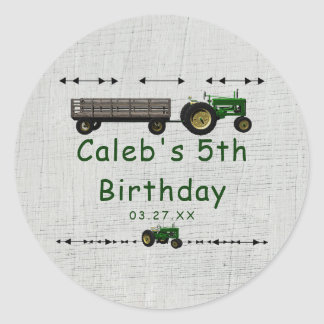 Farm Barnyard Tractor Birthday Party Favor Custom Round Sticker
