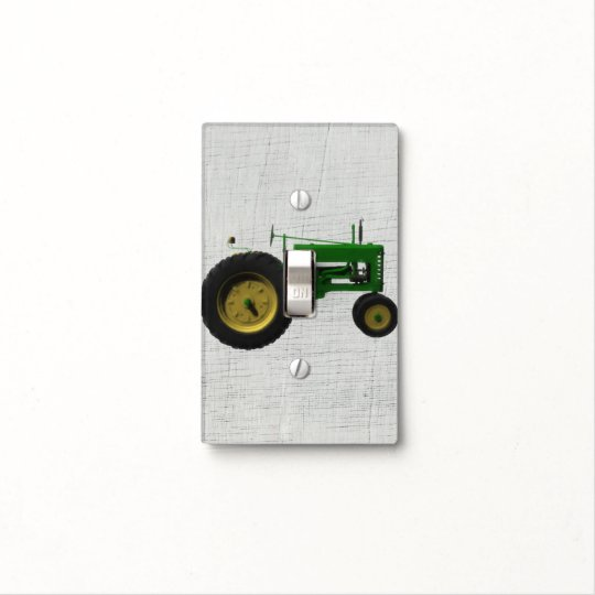 Farm Barnyard Tractor Rustic Country White Wood Light Switch Cover