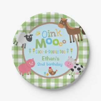 "Farm Birthday Paper Plate 7"" Old MacDonald Party"