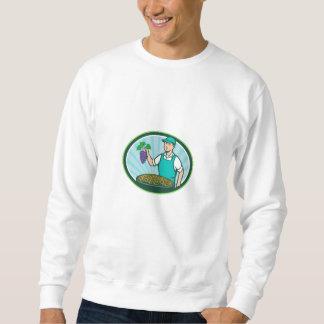 Farm Boy Holding Grapes Bowl Raisins Oval Retro Sweatshirt