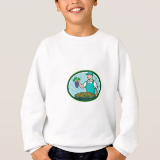 Farm Boy Holding Grapes Bowl Raisins Oval Retro Sweatshirt