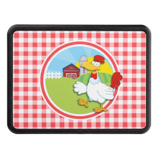 Farm Chicken; Red and White Gingham Trailer Hitch Cover
