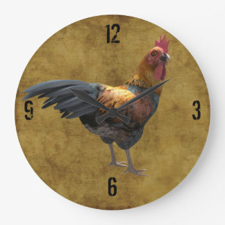 Farm Chicken Rooster Rustic Country Barnyard Style Large Clock