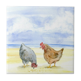 FARM CHICKEN TILE, LOVELY HENS EATING TILE