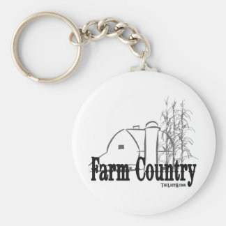 Farm Country Basic Round Button Keychain