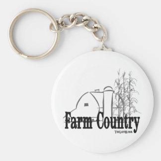 Farm Country Basic Round Button Keychain