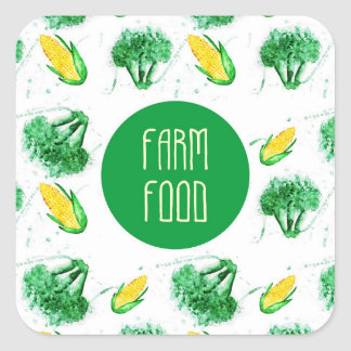 """Farm dood"" with broccoli and corn Square Sticker"