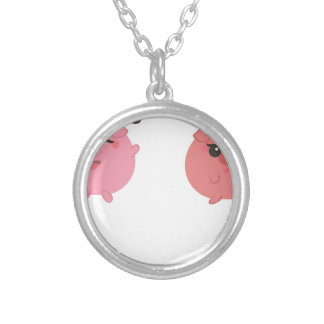 farm emojis - pig silver plated necklace