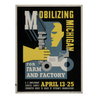Farm Factory Mobilizing Michigan 1943 WPA Vintage Poster