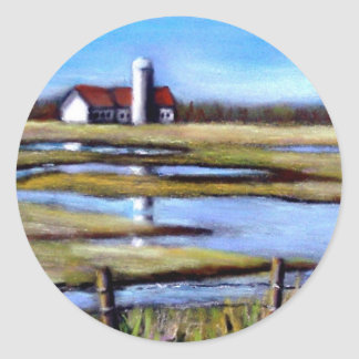 FARM FIELDS IN SPRINGTIME CLASSIC ROUND STICKER