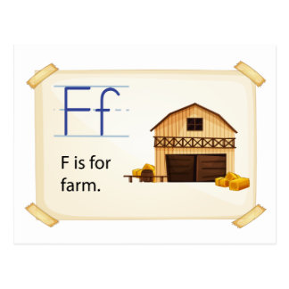 Farm flashcard postcard