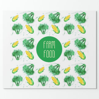 """""""Farm food"""" label with vegetable"""