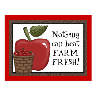 Farm Fresh apple cartoon postcard
