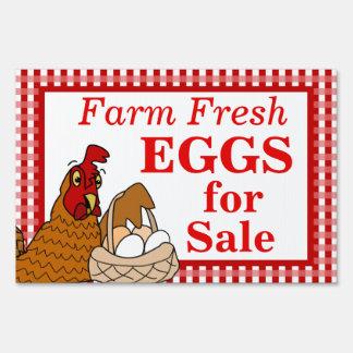 Farm Fresh Eggs Sign Cartoon Chicken with Eggs