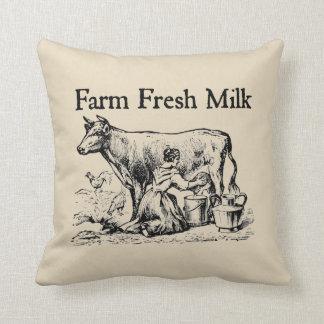 Farm Fresh Milk Farmhouse Style Throw Pillow