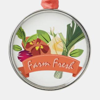 Farm Fresh Silver-Colored Round Ornament