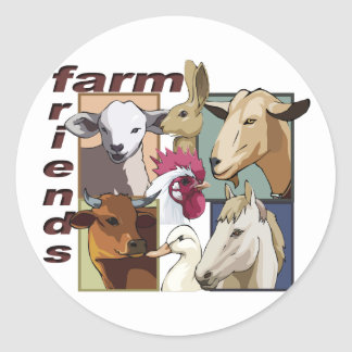 FARM FRIENDS - BARNYARD - COW / HORSE / BIRDS ROUND STICKER