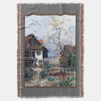 Farm Garden House Family Throw Blanket