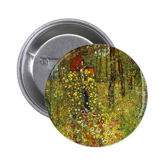 Farm Garden with Crucifix by Gustav Klimt 2 Inch Round Button