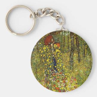 Farm Garden with Crucifix by Gustav Klimt Basic Round Button Keychain