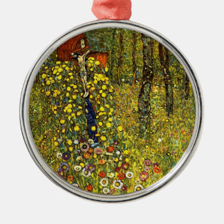 Farm Garden with Crucifix by Gustav Klimt Silver-Colored Round Ornament