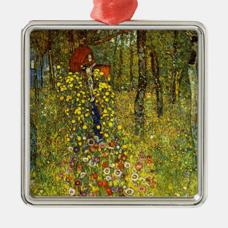 Farm Garden with Crucifix by Gustav Klimt Silver-Colored Square Ornament