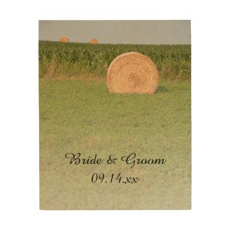 Farm Hay Bales Country Wedding Keepsake Wood Print