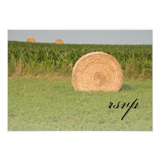 Farm Hay Bales Country Wedding Response Card Custom Invites